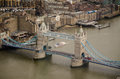 Aerial view tower bridge london from a tall building of the landmark stretching across the river thames in Royalty Free Stock Photo