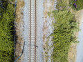 Aerial view train tracks Royalty Free Stock Photo