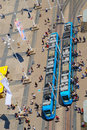 Aerial view of tram station trams and people on on jelačić square in zagreb croatia Stock Photo