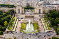 Aerial view on trocadero fountains from the eiffel tower paris france Stock Images