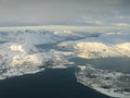 Aerial view tromsoe norway of views over the island and the bay overcast sky Stock Images