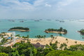 Aerial view of tropical beach in Sentosa island Royalty Free Stock Photo