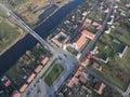 Aerial view of Tykocin city, Big Market, Church of Holy Trinity Royalty Free Stock Photo