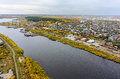 Aerial view on Tyumen Repair Yard. Russia Royalty Free Stock Photo