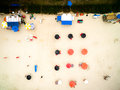 Aerial view of umbrellas in beach, Brazil Royalty Free Stock Photo