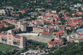 Aerial view of university of colorado an the in boulder folsom field is in the foreground Royalty Free Stock Photos