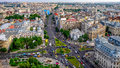 Aerial view of the University Square in the civic center of Bucharest, Romania. Royalty Free Stock Photo