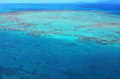Aerial view of Upolu coral reef at  the Great Barrier Reef Queen Royalty Free Stock Photo