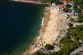 Aerial view of Urca beach and neighborhood homes, Rio de Janeiro, Brasil. Stock Photo