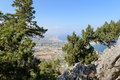 Aerial view on valley of Rhodes town from Mount of Tsampika Church, Greece Royalty Free Stock Photo