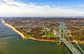 Aerial view on verrazano narrows bridge over the narrows it connects brooklyn and staten island is strait connecting upper Stock Photo