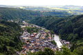 Aerial view of Vianden city in Luxemburg , Europe Royalty Free Stock Photo