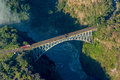 Aerial view of Victoria Falls suspension bridge Royalty Free Stock Photo