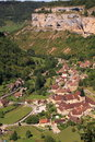 Aerial view village Baume les Messieurs Royalty Free Stock Image