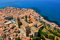 Aerial view of village and cathedral in cefalu sicily duomo italy Stock Photos