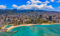 Aerial view of Waikiki Beach in Honolulu Hawaii Royalty Free Stock Photo
