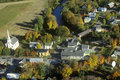 Aerial view of Waitsfield VT and the Mad River on Scenic Route 100 in Autumn Royalty Free Stock Photo