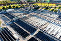 Aerial view of Wards Island Wastewater Treatment Plant in NY Royalty Free Stock Photo