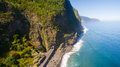 Aerial view of waterfall and ocean in Madeira island Royalty Free Stock Photo