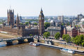 Aerial view of westminster london with the big ben the palace and the bridge over the thames Stock Photos