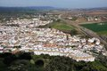 Aerial view of white houses of almodovar del rio cordoba andalusia spain Royalty Free Stock Images