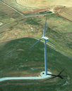 Aerial view windmill turbine Royalty Free Stock Photo