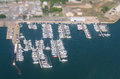 Aerial view of yachts tilt shift Stock Photography