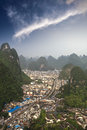 Aerial view of the yangshuo county Royalty Free Stock Photography