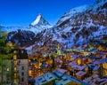 Aerial View on Zermatt Valley and Matterhorn Peak at Dawn Royalty Free Stock Photo