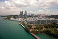 Aerial views from the cable car to Sentosa island, Singapore. Royalty Free Stock Photo