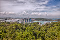 Aerial views of Sentosa island, Singapore. Royalty Free Stock Photo