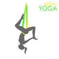 Aerial yoga logo template. Anti-gravity yoga