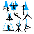 Aero yoga silhouettes. Black and white icons. Vector illustration.