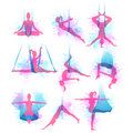Aero yoga watercolor icons. Vector illustration.