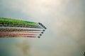 Aerobatic airshow with italian flag colors Stock Photos