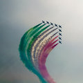Aerobatic airshow paint the sky Royalty Free Stock Image