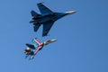 Aerobatics. Two heavy fighters. Royalty Free Stock Photo