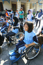 Aerobic execise students with disabilities are following exercise in the city of solo central java indonesia Stock Images