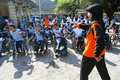 Aerobic execise students with disabilities are following exercise in the city of solo central java indonesia Royalty Free Stock Photo