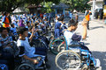 Aerobic execise students with disabilities are following exercise in the city of solo central java indonesia Stock Photo