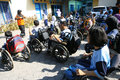 Aerobic execise students with disabilities are following exercise in the city of solo central java indonesia Stock Photos