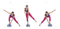 Aerobic Lateral jump on step Royalty Free Stock Photo