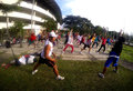 Aerobic people are following exercises in a stadium in the city of solo central java indonesia Royalty Free Stock Photo