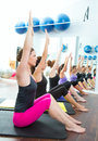 Aerobic Pilates personal trainer group class Royalty Free Stock Images
