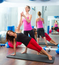 Aerobic Pilates personal trainer instructor women Stock Photos