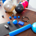 Aerobic Pilates stuff mat balls roller magic ring Stock Images