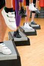 Aerobic step exercise detail Royalty Free Stock Photo