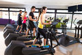 Aerobics elliptical walker trainer group at gym fitness workout Stock Photos