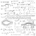 Aerodynamics law theory and physics mathematical formula equation doodle handwriting icon in white background with handdrawn model Stock Photos