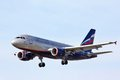 Aeroflot airbus a moscow may arrives to sheremetyevo international airport russia Stock Photo